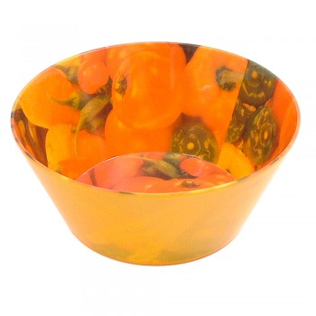 Small Melamine Bowl - Green Peppers & Tomatoes with orange