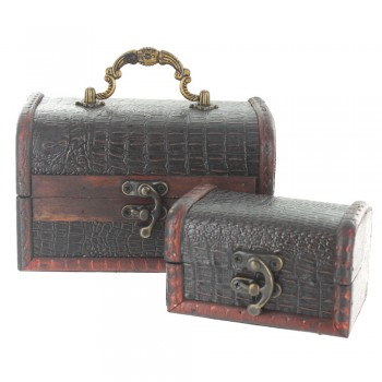 Crocodile Skin Design Small Treasure Chests - Set of 2