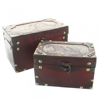 Map Design Wooden Treasure Chests - Set of 2