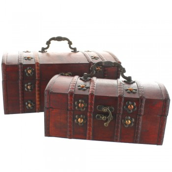 Curved Top Wooden Treasure Chests - Set of 2