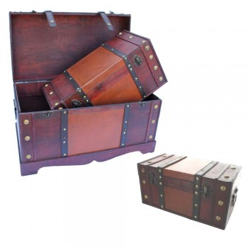 Wooden Trunks - Set of 3 - Large, Medium and Small