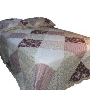 Cottage Garden Patchwork Quilted Throw (Red)