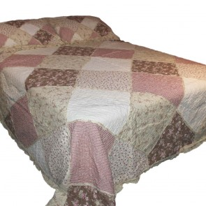 Cottage Garden Patchwork Quilted Throw - Rose