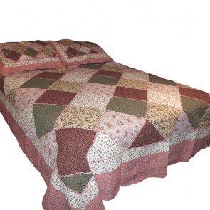 New Cottage Garden Patchwork Quilted Throw- Red