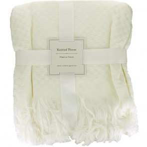 Square Pattern Knitted Throw - Ivory