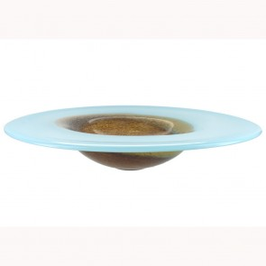 Large Blue And Brown Glass Bowl