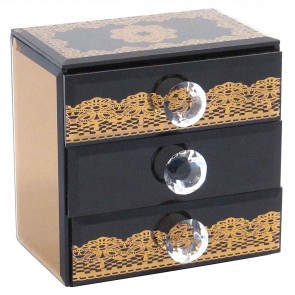Mirrored 3 Drawer Box - Bronze
