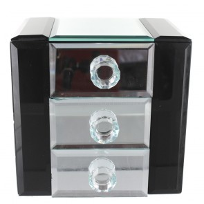 Black Edged Mirror Chest Of 3 Drawers