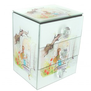 Glass Jewellery Box With Compartment At The Top And 2 Drawers Below - Lady Writing Letter Design