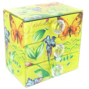 Vintage Design 3 Drawer Chest - Yellow with Butterfly and Flower Design