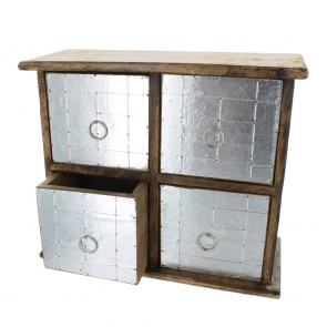 Wood and Metal 4 Drawer Cabinet