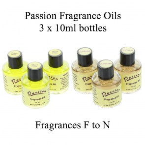 3 Bottles of Passion Fragrance Oils (10ml) - Fragrances F to N