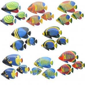 Brightly Painted Wall Fish With Glossy Finish - Set of 3
