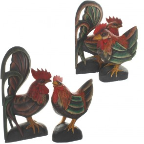 Two Piece Antiqued Standing Cock and Hen Set