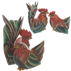 Two Piece Antiqued Sitting Cock and Hen Set