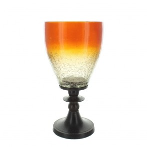 Amber Painted Glass Candle Holder
