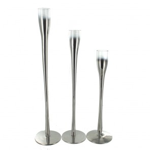 Metalized Glass Taper Candle Holders - Set of 3