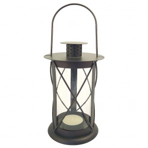 Cylindrical Brown Candle Lantern - Small