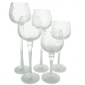 Crackle Glass Tea Light Holders - Set of 5