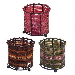 Round Bead Tea Light Holder Octagonal Central Band