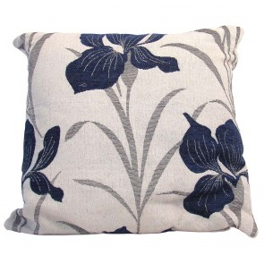 Chenille Iris Cushion - Blue