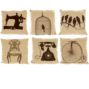 Natural Linen Look Cushion With Black Printed Design
