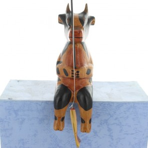 Wooden Fishing Cow - Brown With Black Markings