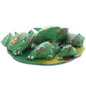 Family of 5 Wooden Frogs On Lotus Leaf - Green