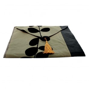 Black Leaf Table Runner - Coffee