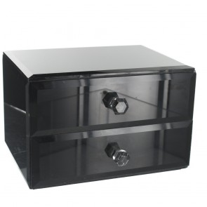 Black Glass 2 Drawer Box