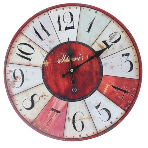 Shabby Chic Wooden Battery Operated Wall Clock - Paris Design
