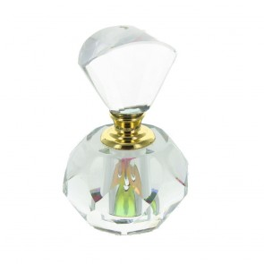 Small Faceted Clear Glass Perfume Bottle