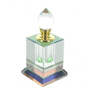 Small Square Clear Glass Perfume Bottle With Faceted Glass Stopper